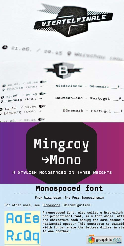 Mingray Mono Font Family - 4 Fonts $156