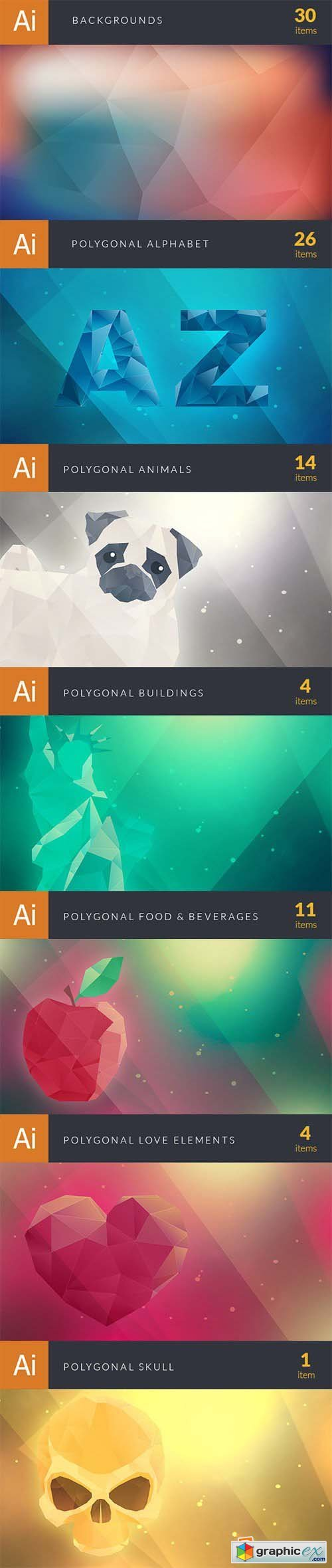 Super Premium Polygonal Vector Elements Bundle