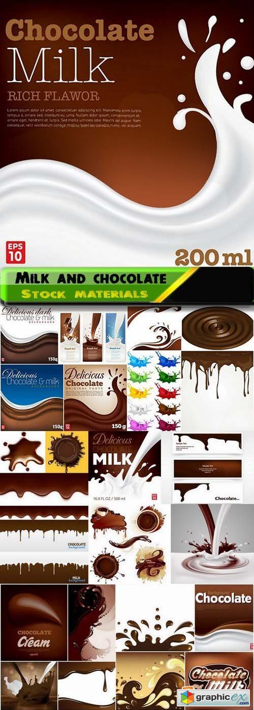 Milk and chocolate elements and splashes in vector 25xEPS