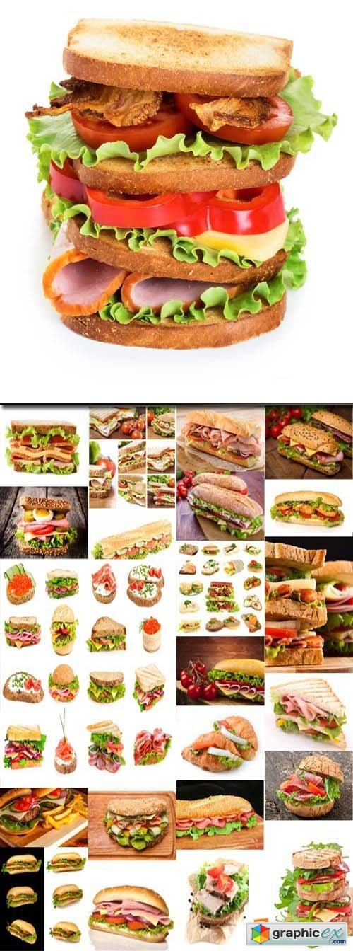 Sandwich with ham, cheese and fresh vegetables, 25xJPG