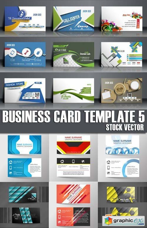 Stock Vectors - Business Card Template 5, 25xEPS