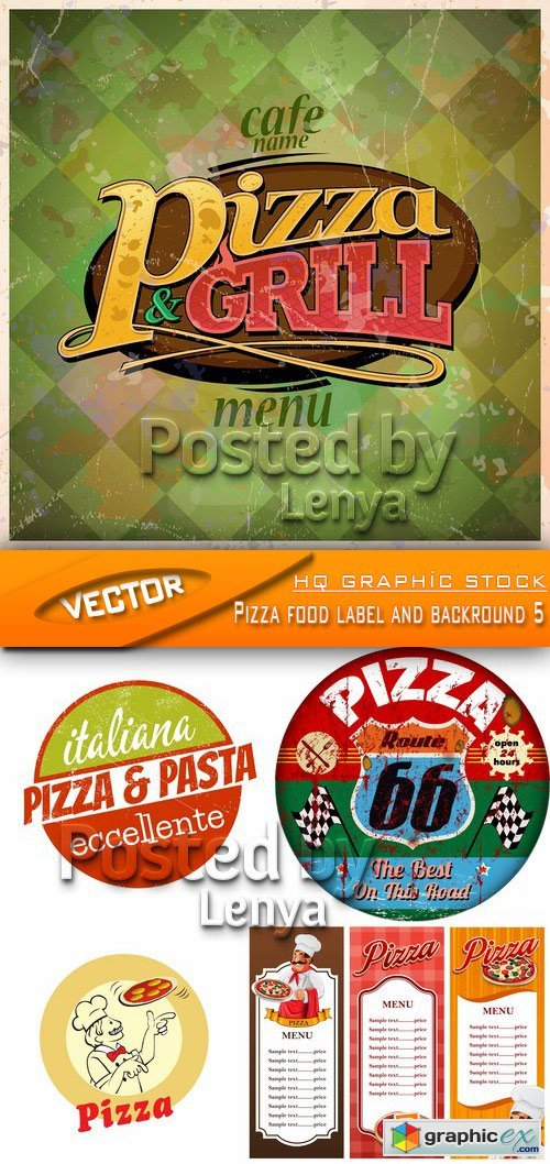 Stock Vector - Pizza food label and backround 5