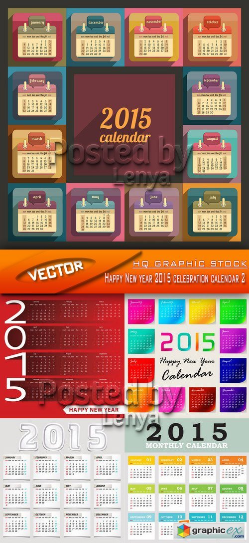 Stock Vector - Happy New year 2015 celebration calendar 2