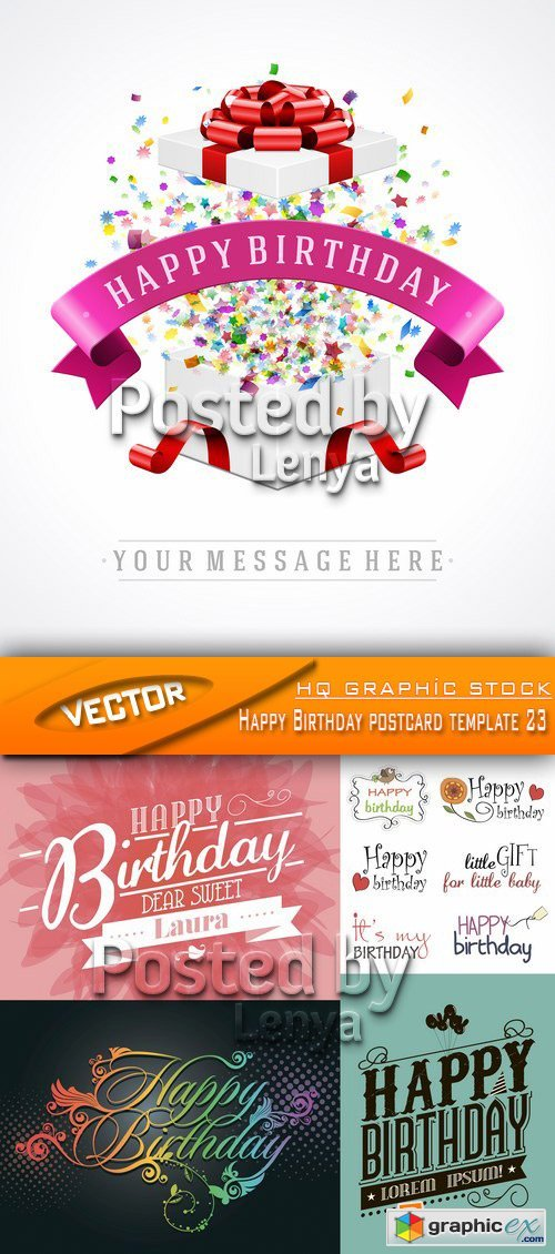 stock vector happy birthday postcard template 23 free download