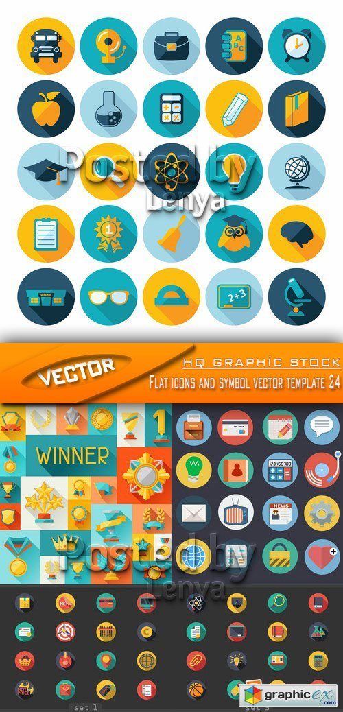 Stock Vector - Flat icons and symbol vector template 24