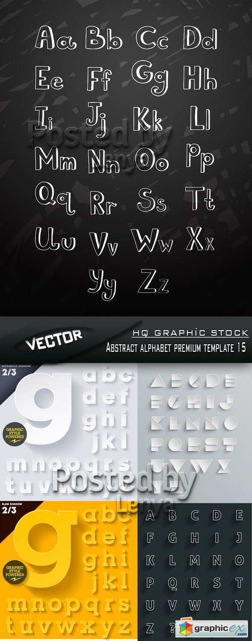 Stock Vector - Abstract alphabet premium template 15