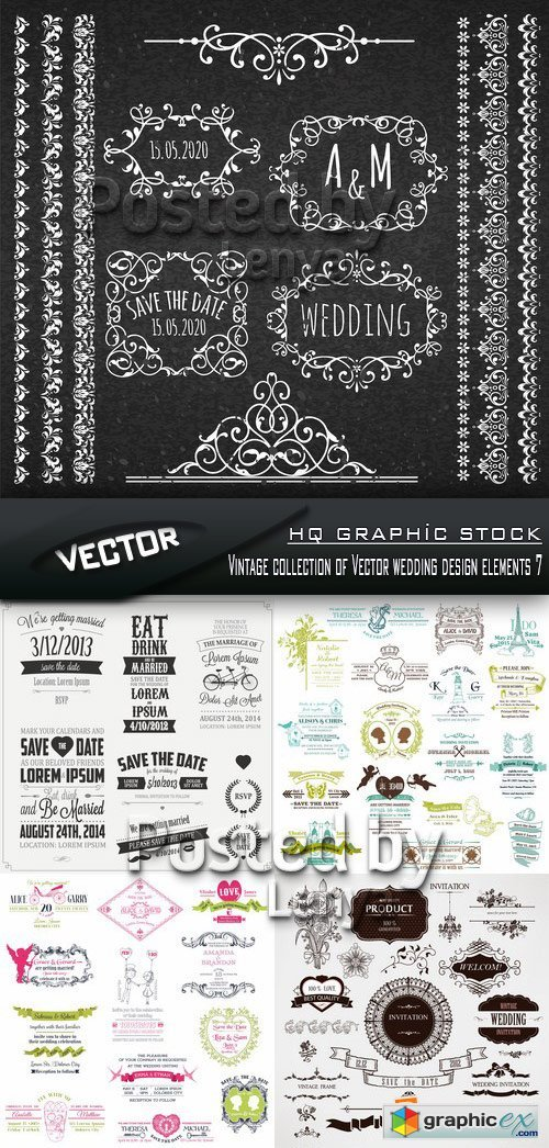 Stock Vector - Vintage collection of Vector wedding design elements 7