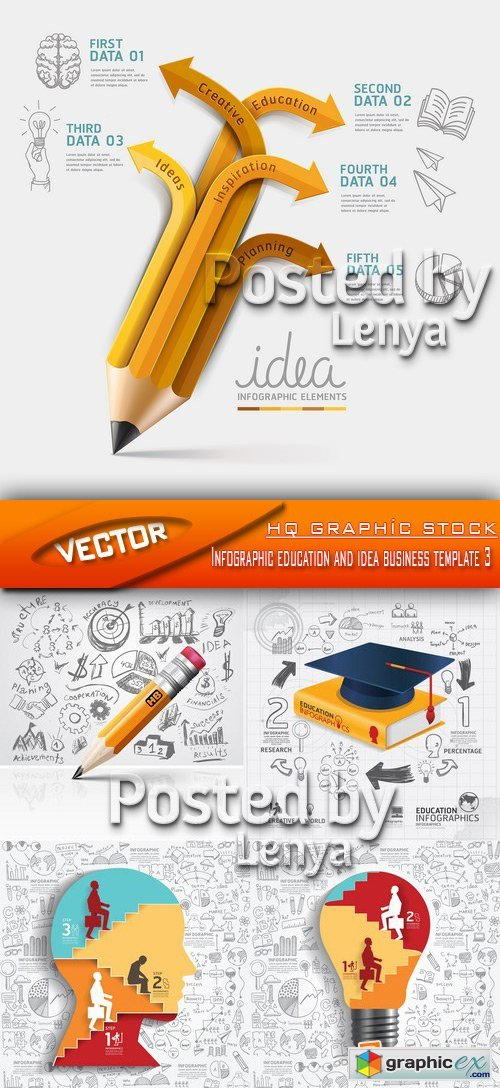 Stock Vector - Infographic education and idea business template 3