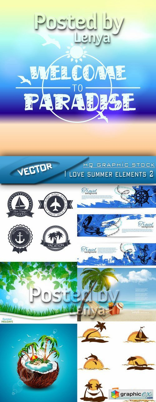 Stock Vector - I love summer elements 2