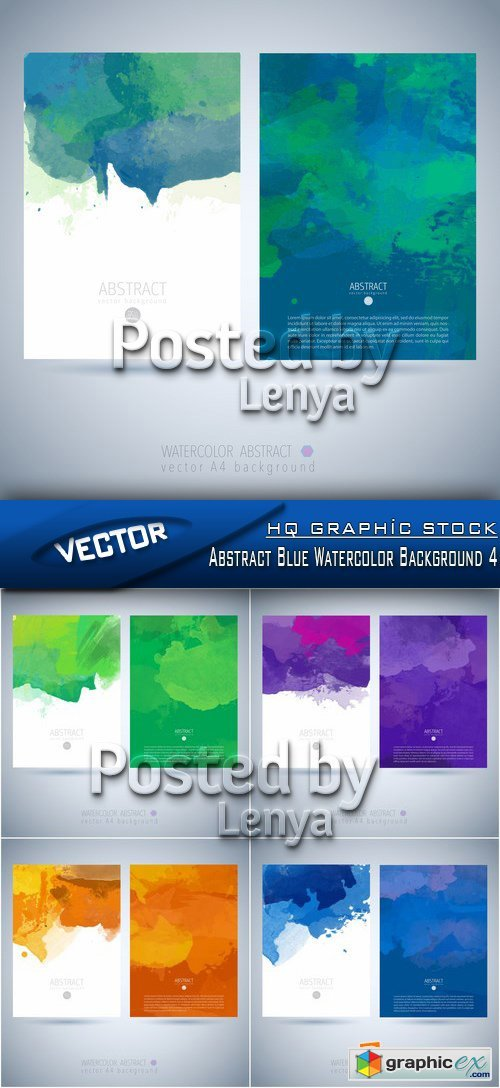 Stock Vector - Abstract Blue Watercolor Background 4