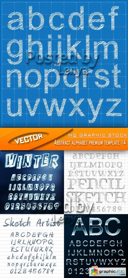 Stock Vector - Abstract alphabet premium template 14