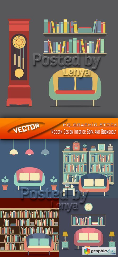Stock Vector - Modern Design Interior Sofa and Bookshelf