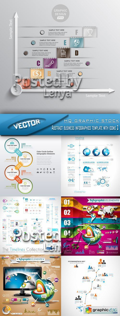 Stock Vector - Abstract business infographics template with icons 2