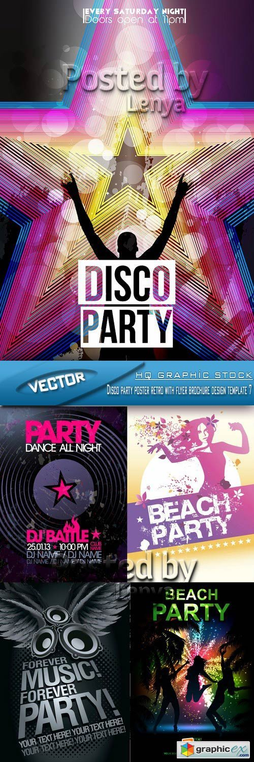 Stock Vector - Disco party poster retro with flyer brochure design template 7