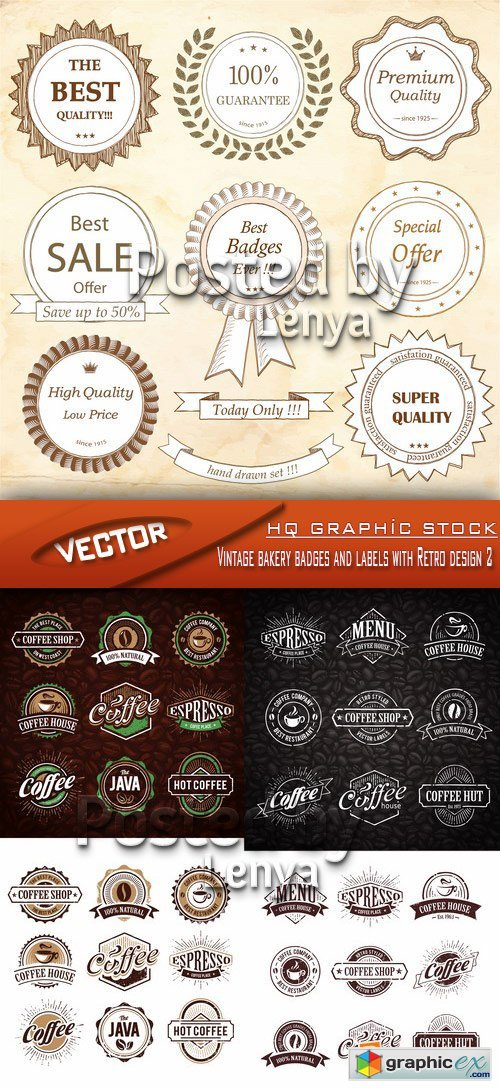 Stock Vector - Vintage bakery badges and labels with Retro design 2