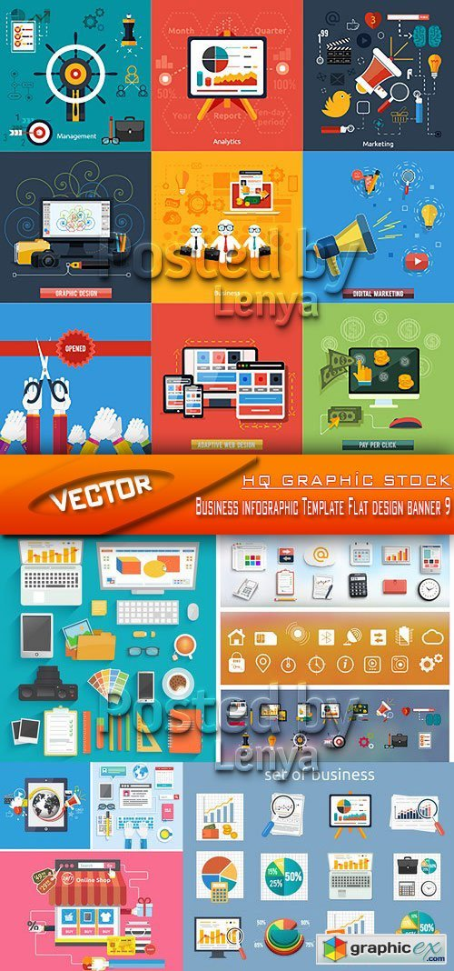 Stock Vector - Business infographic Template Flat design banner 9