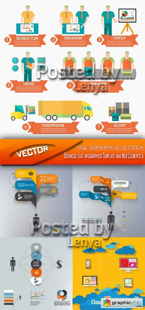 Stock Vector - Business flat Infographics Template and Web Elements 6