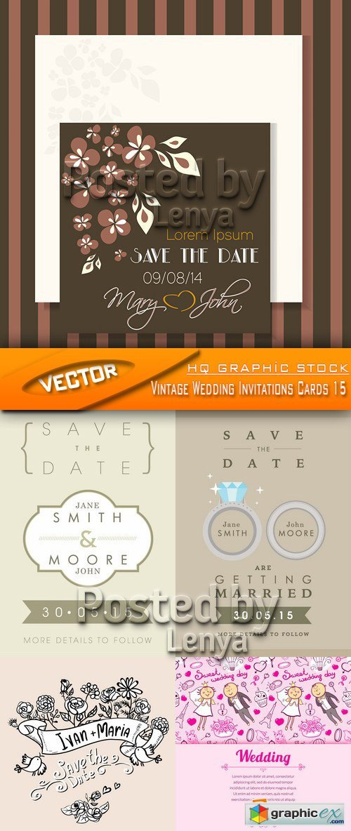 Stock Vector - Vintage Wedding Invitations Cards 15