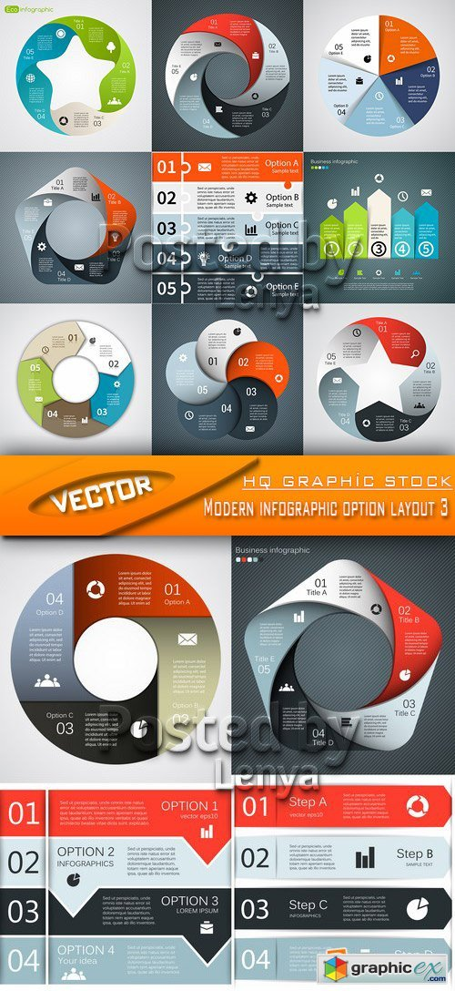 Stock Vector - Modern infographic option layout 3