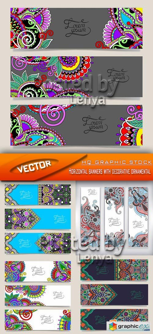 Stock Vector - Horizontal banners with decorative ornamental