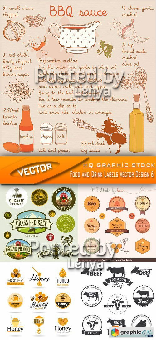 Stock Vector - Food and Drink Labels Vector Design 6