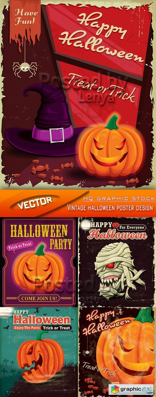 Stock Vector - Vintage halloween poster design
