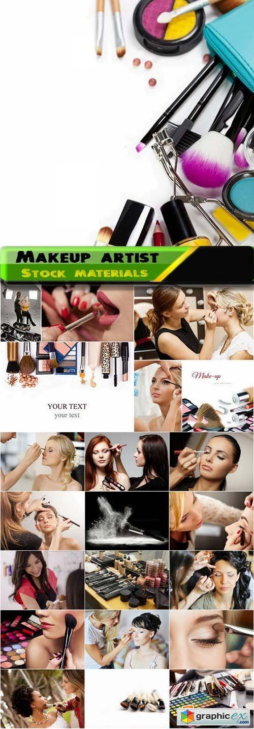 Makeup artist and makeup products Stock Images 25xJPG