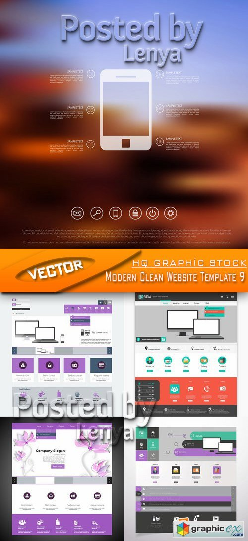 Stock Vector - Modern Clean Website Template 9