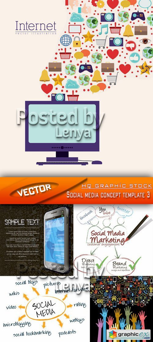 Stock Vector - Social media concept template 3b