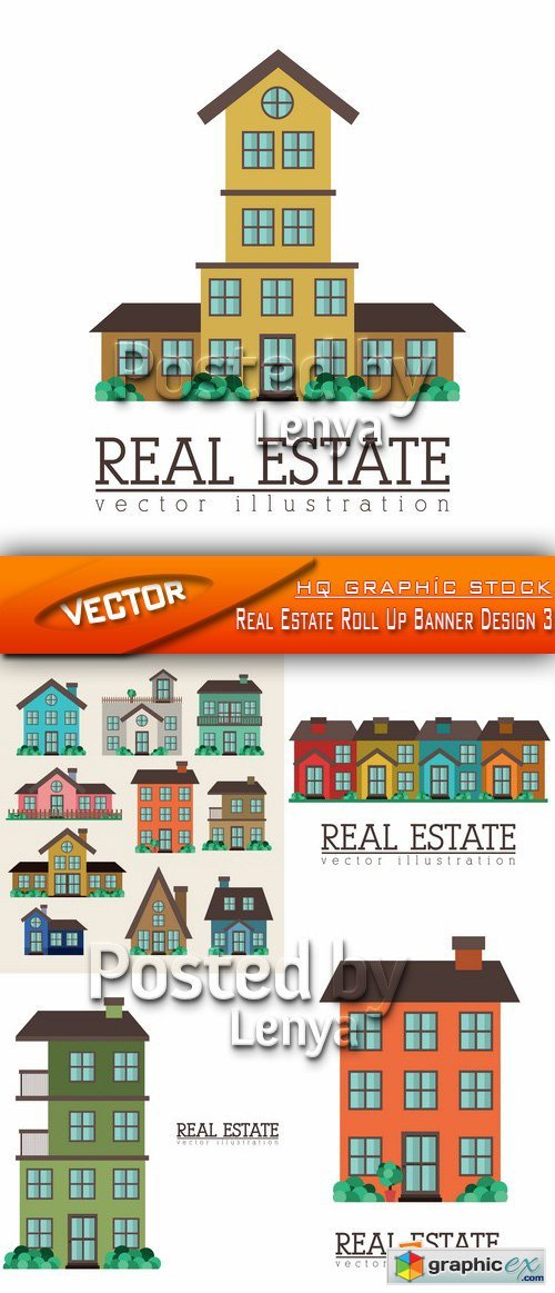 Stock Vector - Real Estate Roll Up Banner Design 3