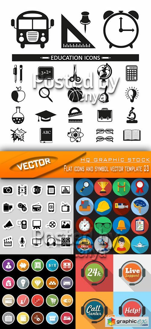 Stock Vector - Flat icons and symbol vector template 23