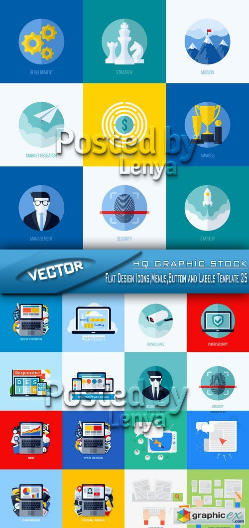 Stock Vector - Flat Design Icons,Menus,Button and Labels Template 25