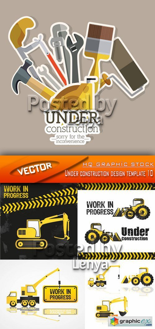 Stock Vector - Under construction design template 10