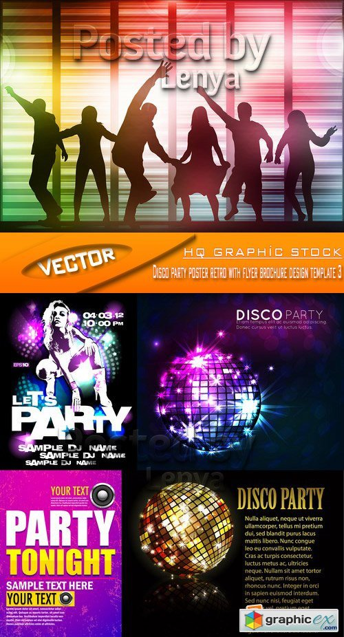 Stock Vector - Disco party poster retro with flyer brochure design template 5