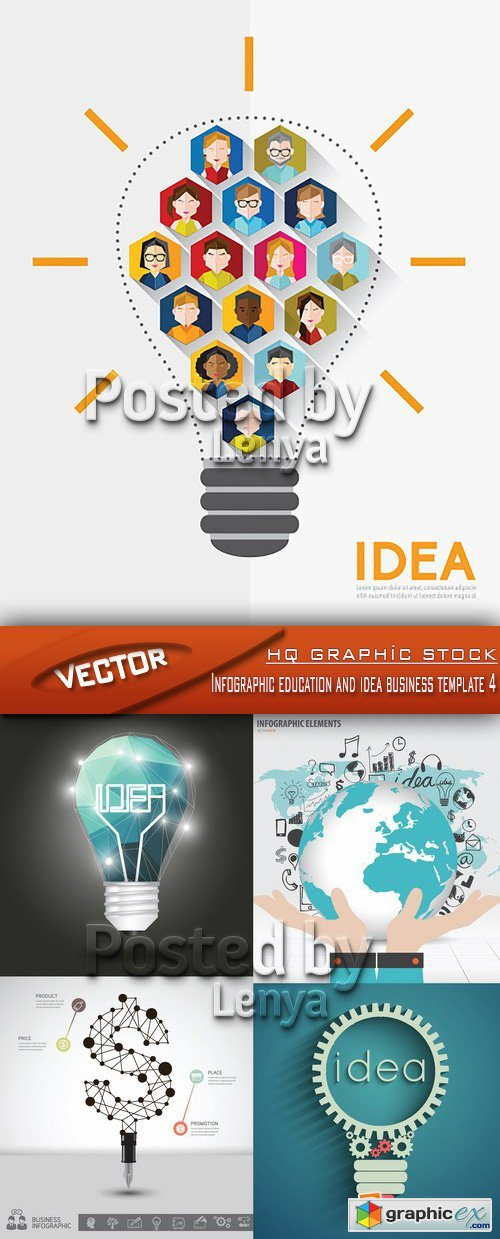 Stock Vector - Infographic education and idea business template 4