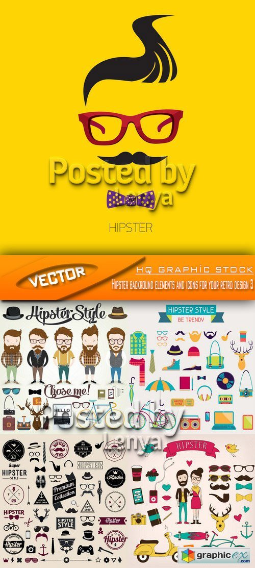 Stock Vector - Hipster backround elements and icons for your retro design 3