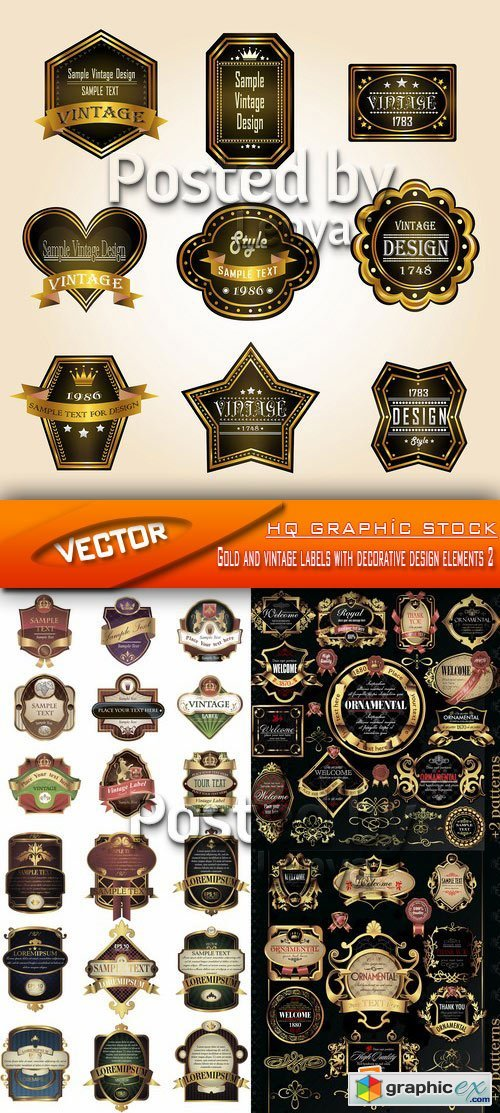 Stock Vector - Gold and vintage labels with decorative design elements 2