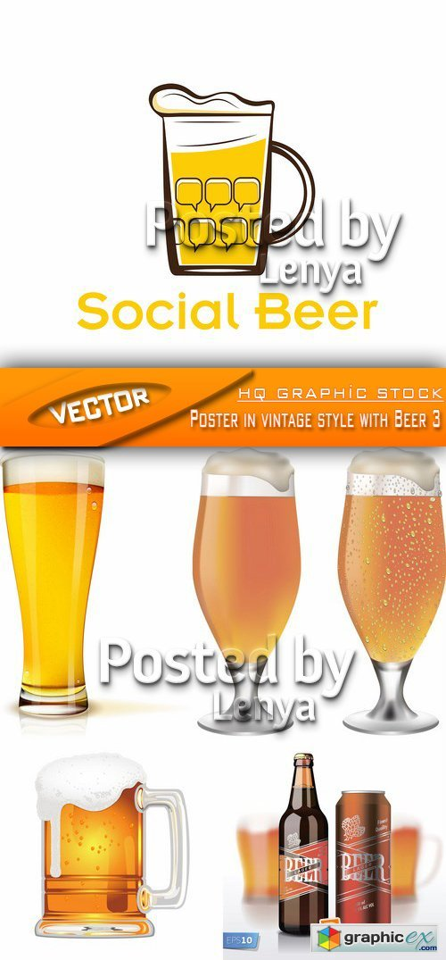 Stock Vector - Poster in vintage style with Beer 3