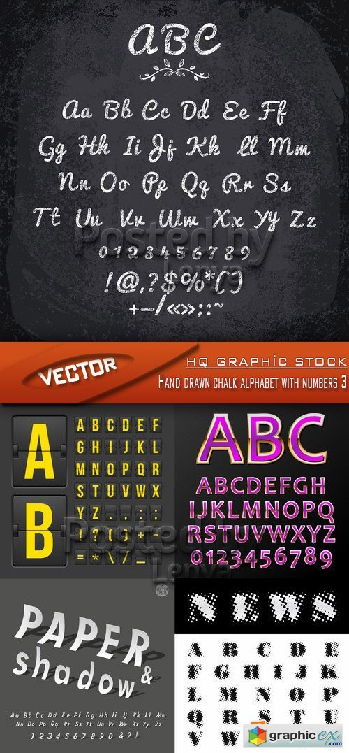 Stock Vector - Hand drawn chalk alphabet with numbers 3