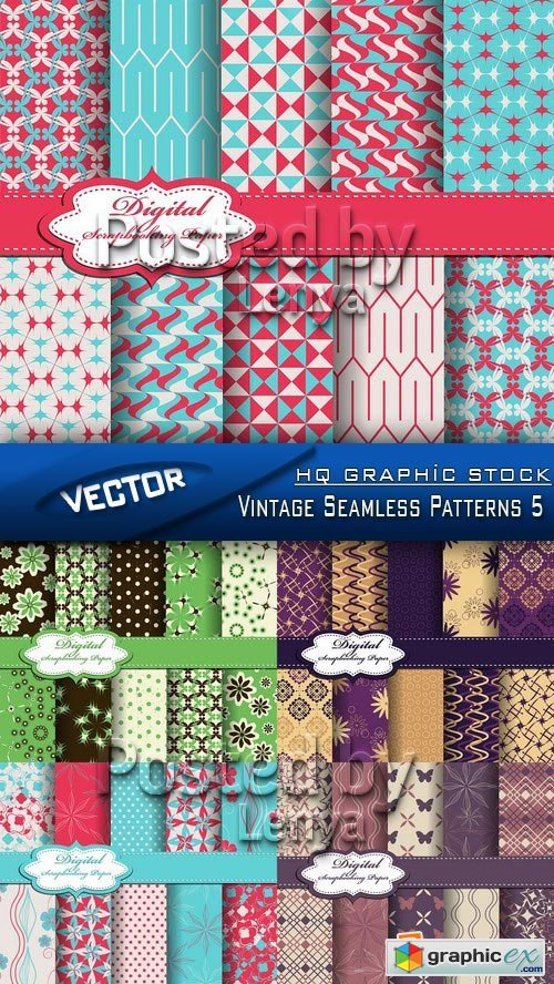 Stock Vector - Vintage Seamless Patterns 5