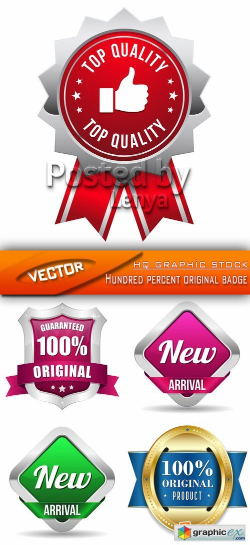 Stock Vector - Hundred percent original badge