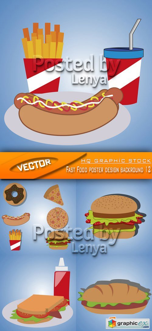 Stock Vector - Fast Food poster design backround 12
