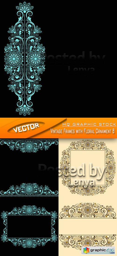 Stock Vector - Vintage Frames with Floral Ornament 8