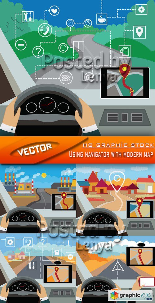 Stock Vector - Using navigator with modern map