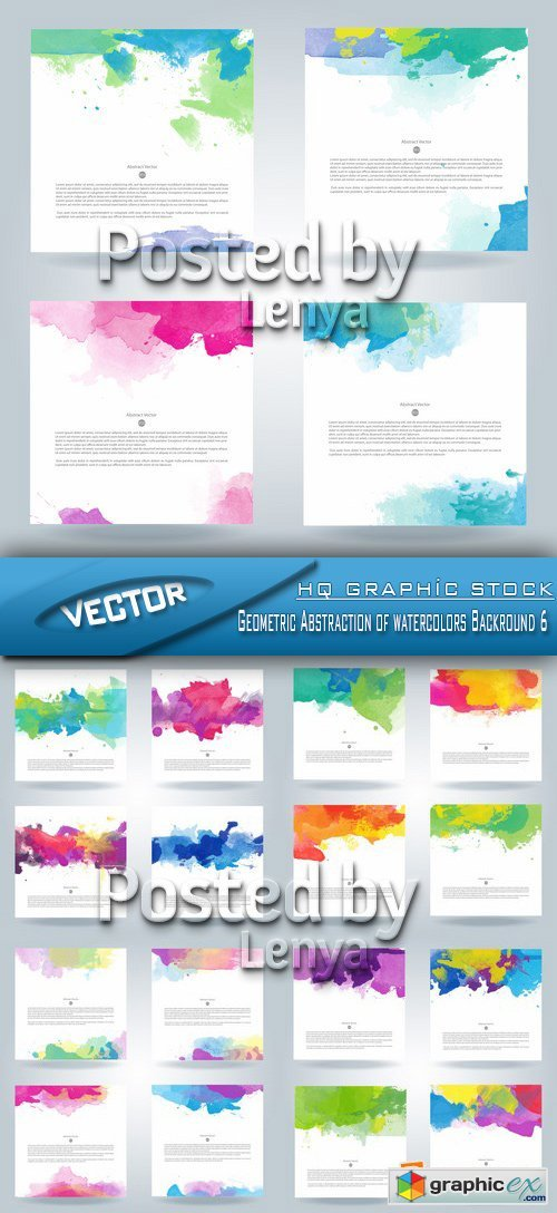 Stock Vector - Geometric Abstraction of watercolors Backround 6