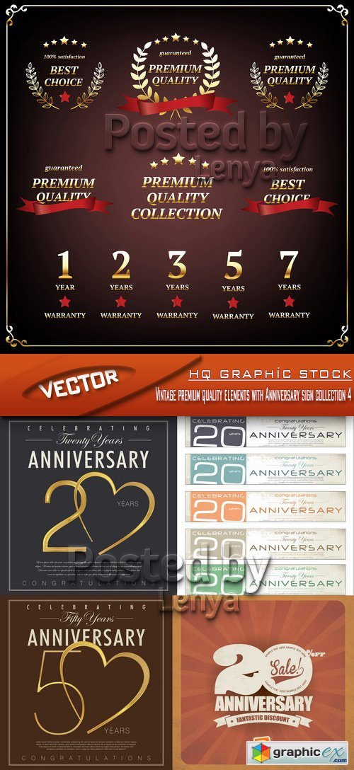 Stock Vector - Vintage premium quality elements with Anniversary sign collection 4