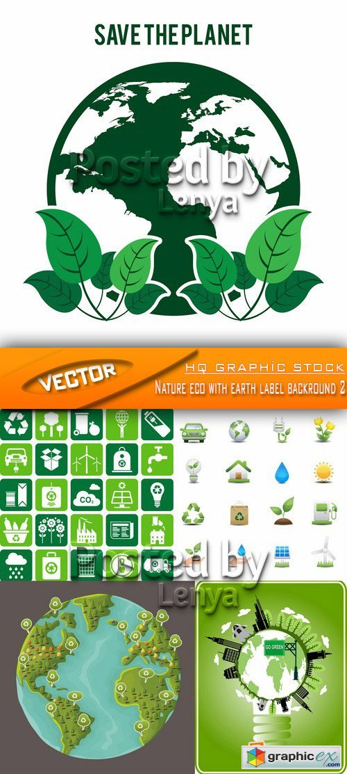 Stock Vector - Nature eco with earth label backround 2