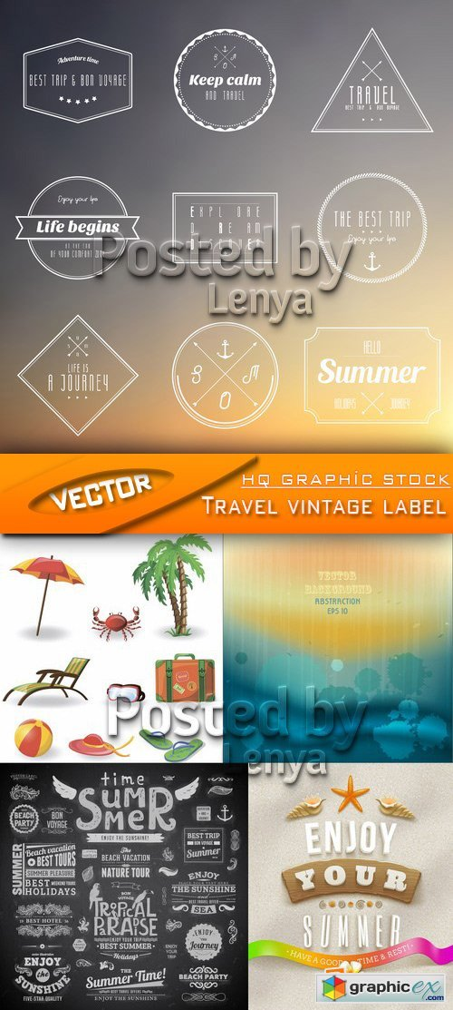 Stock Vector - Travel vintage label