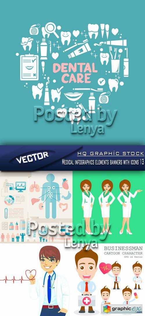 Stock Vector - Medical infographics elements banners with icons 13