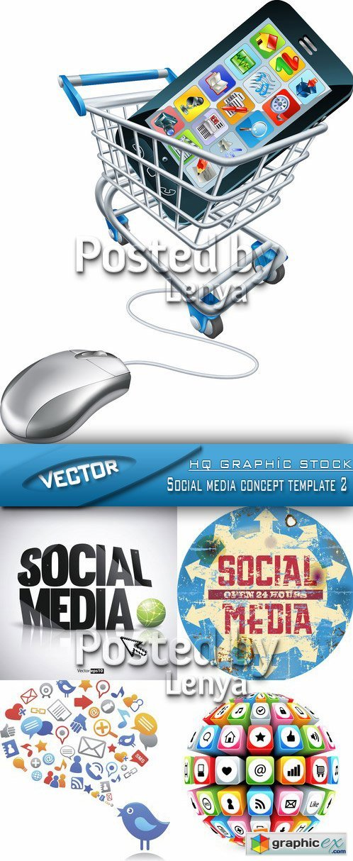 Stock Vector - Social media concept template 2